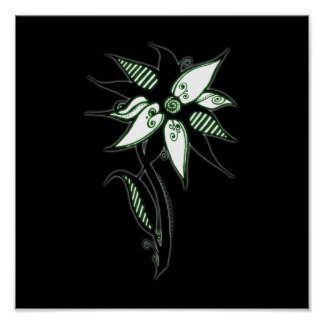 Black Green White Swirly Flower by Naomi Poster