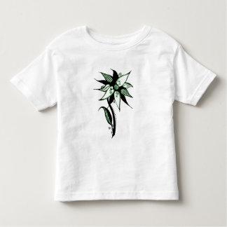 Black Green & White Swirly Flower by Naomi T Shirts