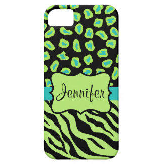 Black Green Zebra Leopard Skin Name Personalized Case For The iPhone 5