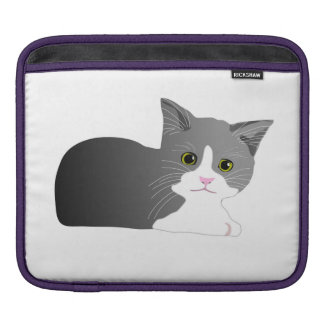 Black, grey and white kitten iPad sleeve
