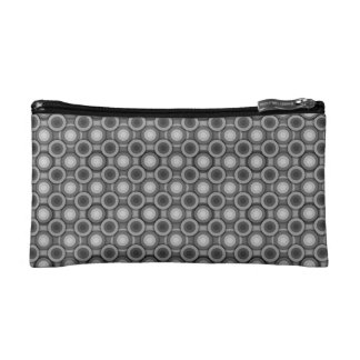 Black, grey and White Optical Illusion Circles Cosmetic Bag