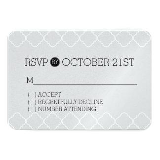 Black, Grey and White Quatrefoil RSVP 9 Cm X 13 Cm Invitation Card
