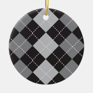 Black Grey Argyle Pattern Christmas Ornament