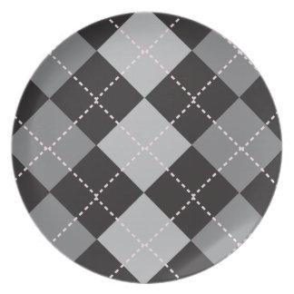 Black Grey Argyle Pattern Dinner Plate