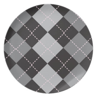 Black Grey Argyle Pattern Plate