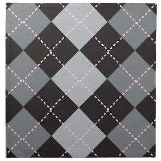 Black Grey Argyle Pattern Printed Napkin