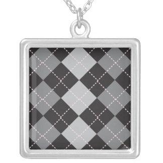 Black Grey Argyle Pattern Square Pendant Necklace