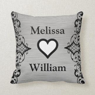 Black Grey Bride Groom Names Floral Wedding Cushion