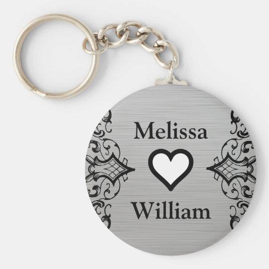 Black Grey Bride Groom Names Floral Wedding Key Ring
