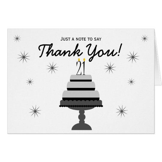 Black Grey Cake 21st Birthday Thank You Note