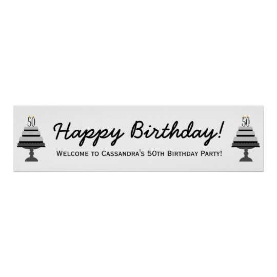 Black Grey Cake 50th Birthday Party Banner Poster