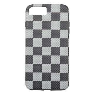 Black & Grey Carbon Fibre Chequered Board iPhone 7 Plus Case