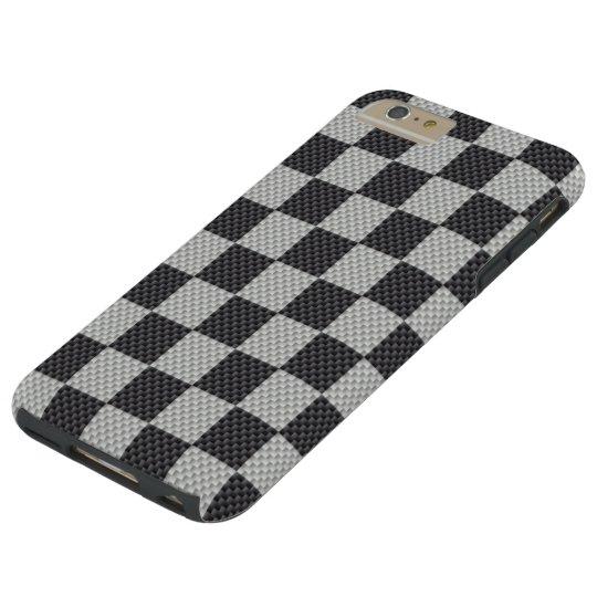 Black & Grey Carbon Fibre Chequered Board Tough iPhone 6 Plus Case