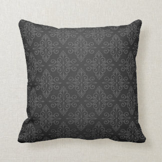 Black Grey Charcoal Damask Pattern Cushion