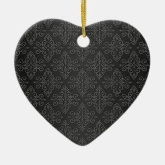 Black Grey Charcoal Damask Pattern Christmas Ornaments