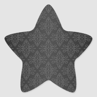 Black Grey Charcoal Damask Pattern Star Sticker