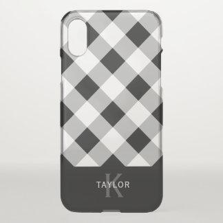 Black & Grey Check - Monogram iPhone X Case