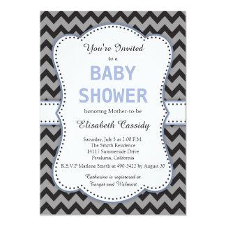 Black & Grey Chevron, Blue Baby Shower Invitation