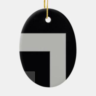 Black/Grey Color Corner (MB) Ceramic Oval Decoration