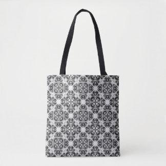 Black grey damask tote bag