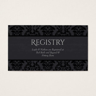 Black & Grey Damask Wedding Registry Card