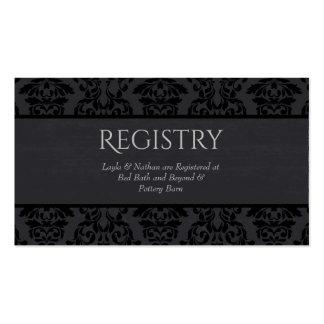 Black & Grey Damask Wedding Registry Card Pack Of Standard Business Cards