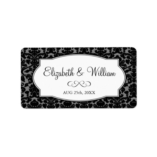 Black grey elegant damask border wedding favour label