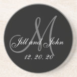 Black Grey Elegant Monogram Wedding Sandstone Coaster