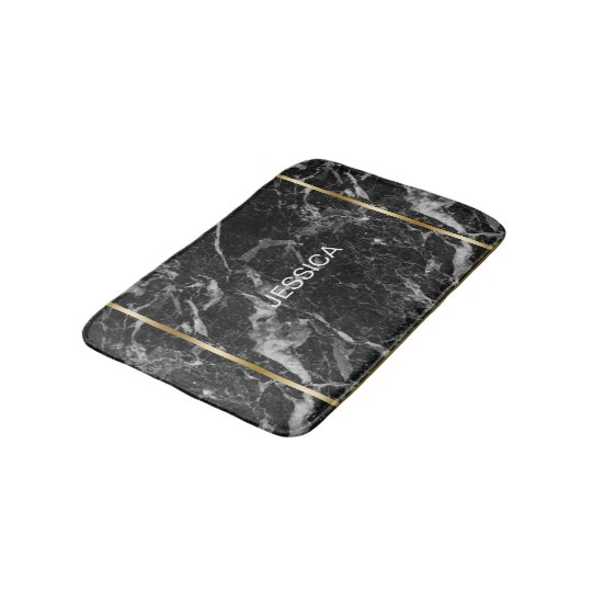 Black & Grey Faux MarbleGold Accent Bath Mat
