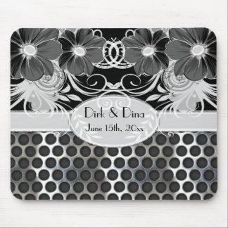 Black Grey Feminine Floral Manly Metal Wedding Mousepads