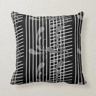 Black Grey Flora, White Line Throw Pillow