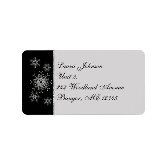 Black Grey Glitter Snowflakes Return Address Label