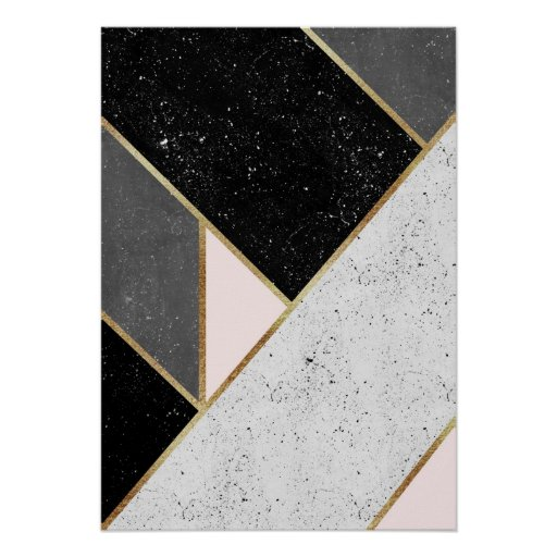 Black, Grey, Gold and Pastel Pink Geometric Design