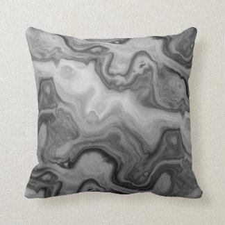 Black Grey Groovy Waves Cushion