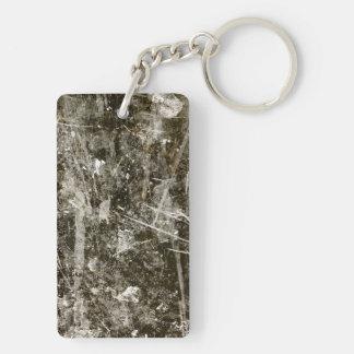 Black grey grunge digital graphic art design Double-Sided rectangular acrylic key ring