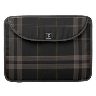 Black Grey Large Tartan Plaid Sleeve For MacBook Pro