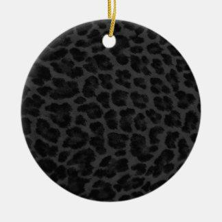 Black & Grey Leopard Print Round Ceramic Decoration