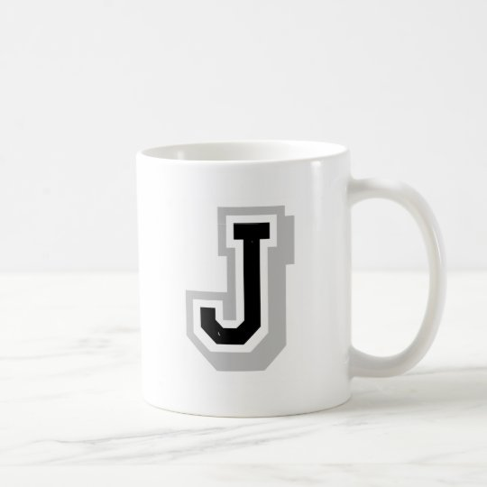 black grey letter J Coffee Mug