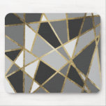 Black & Grey Modern Geo Gold Triangles Mouse Pad