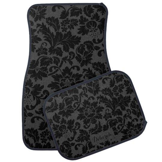 Black & Grey Monochromatic Floral Pattern Car Mat