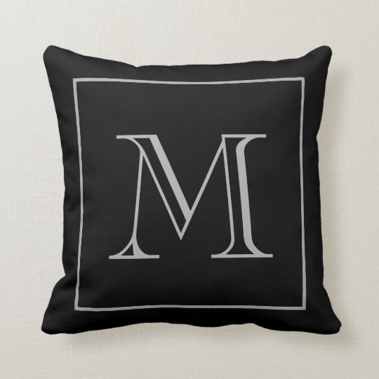 Black Grey Monogram Cushion