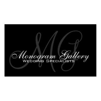Black Grey Monogram Customizable Business Card