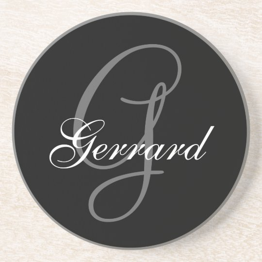 Black Grey Monogram G Wedding Anniversary Coaster