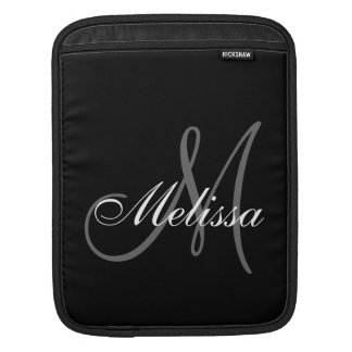 Black Grey Monogram M Initial First Name iPad Sleeve