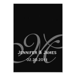 Black Grey Monogram Names Wedding Invitation