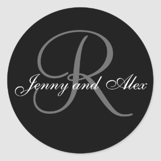 Black Grey Monogram R Bride Groom Names Wedding Classic Round Sticker