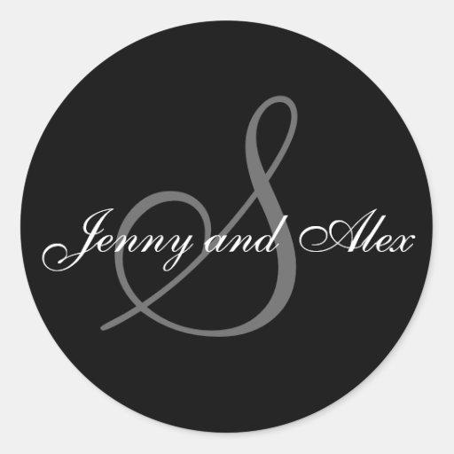 Black Grey Monogram S Bride Groom Names Wedding Round Sticker