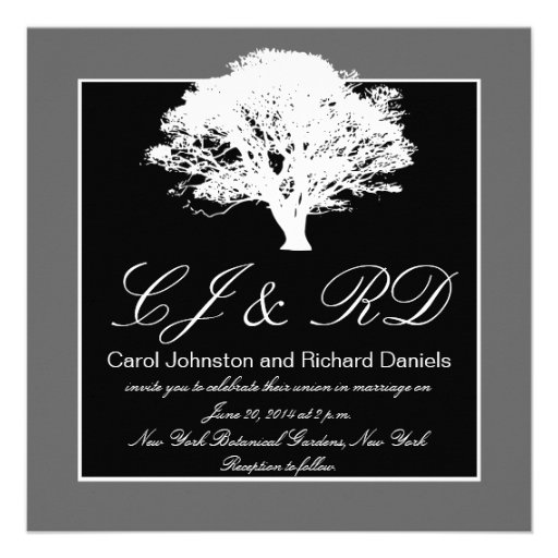 Black Grey Monograms Wedding Invitations Tree