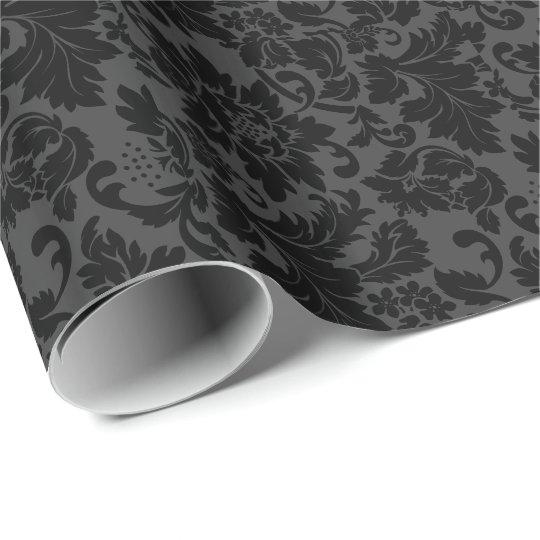 Black & Grey Monotones Floral Damasks Pattern Wrapping