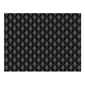 Black & Grey Old Victorian Pattern Design Texture Postcard